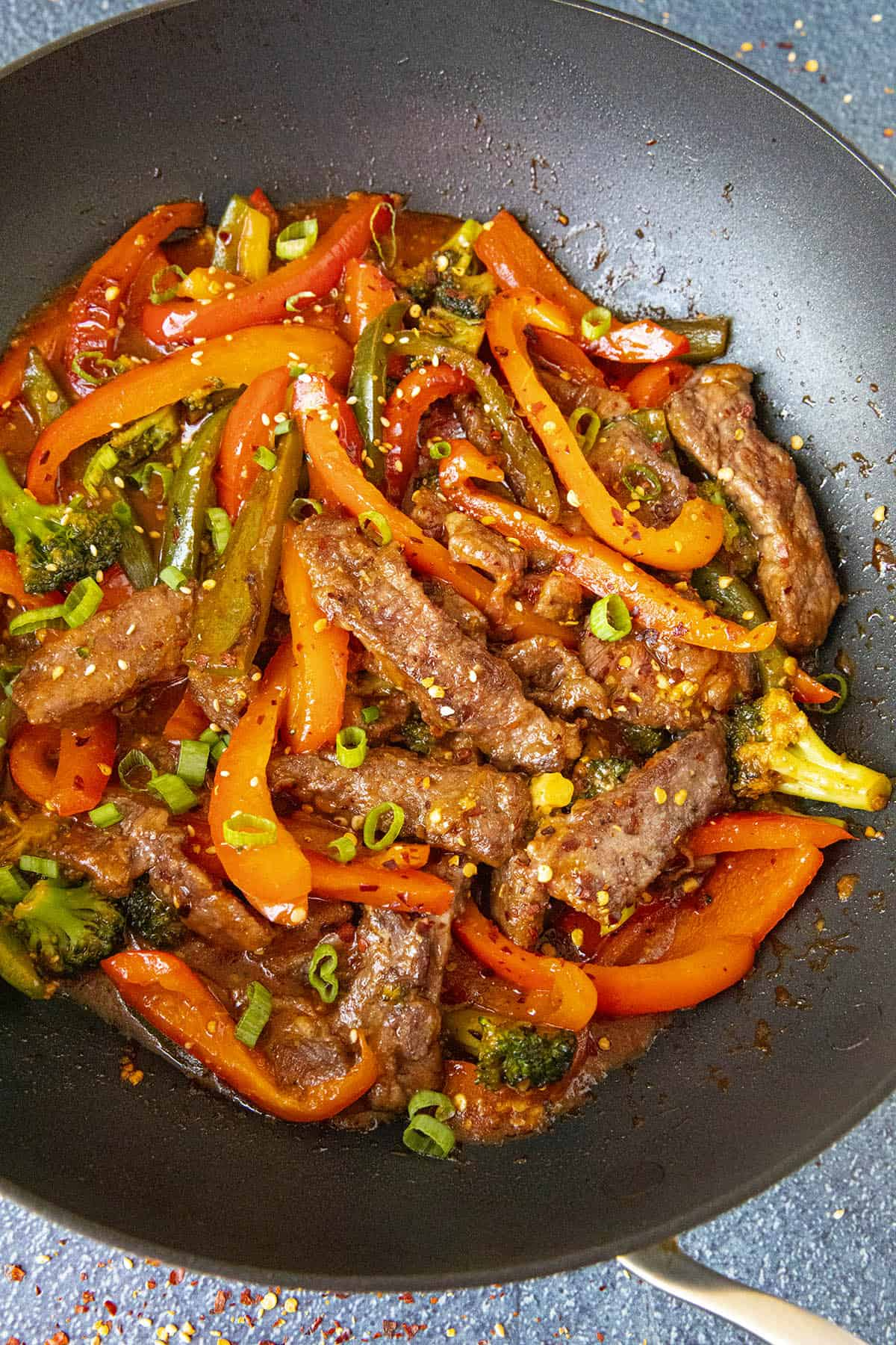 Spicy Beef Stir Fry in a pan with peppers and broccoli