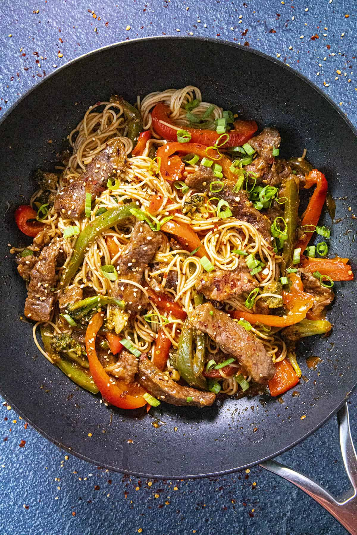 Beef Stir Fry in a pan with noodles