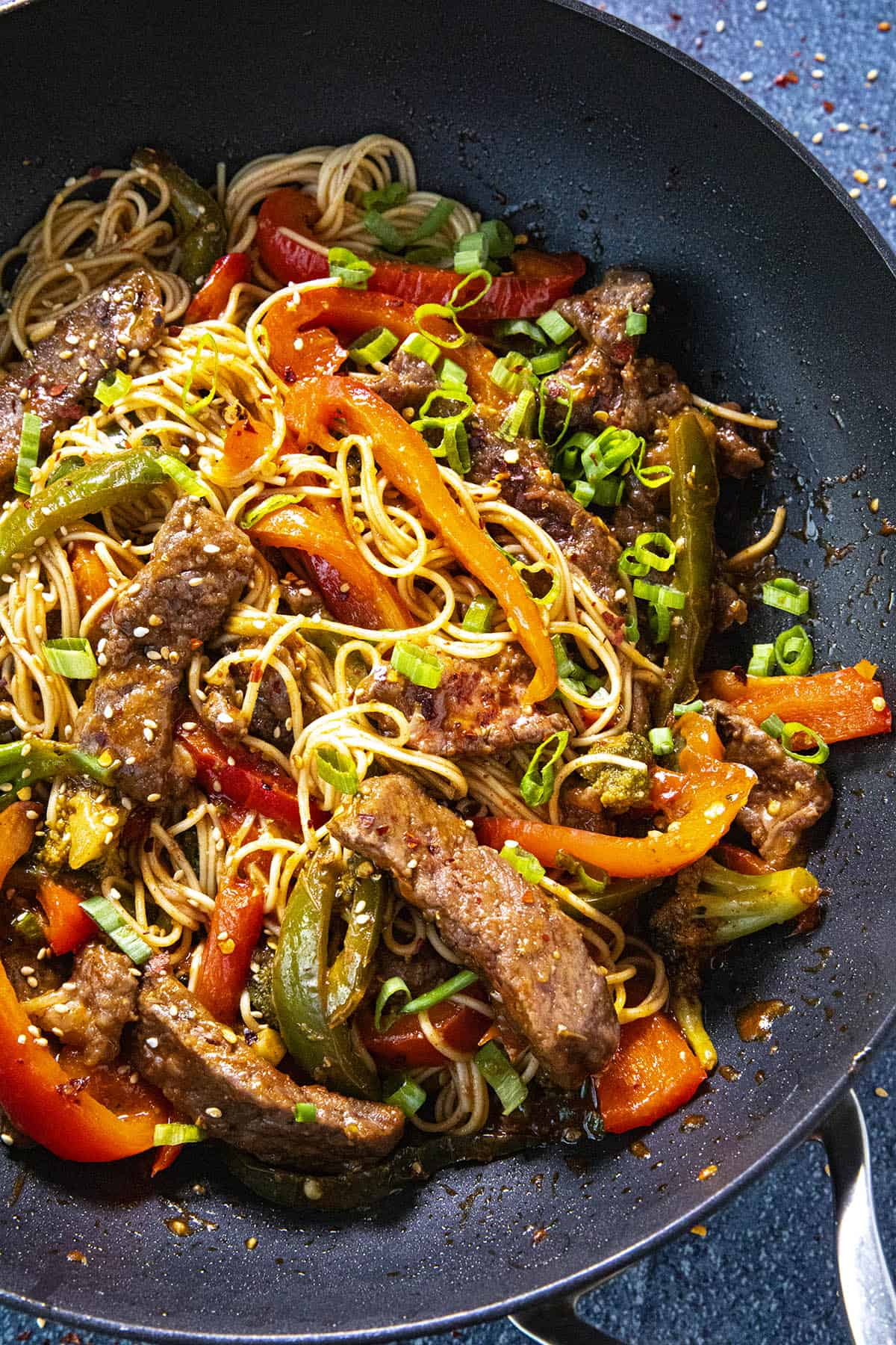Beef Stir Fry with noodles in a pan