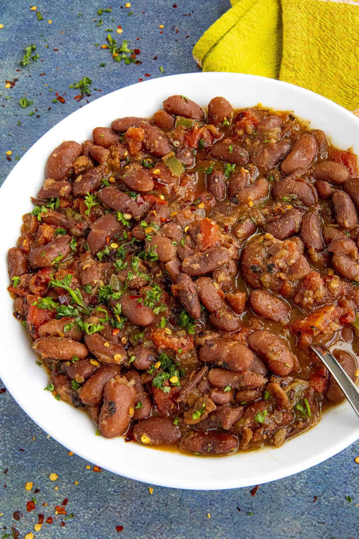 Charro Beans in a bowl, ready to serve
