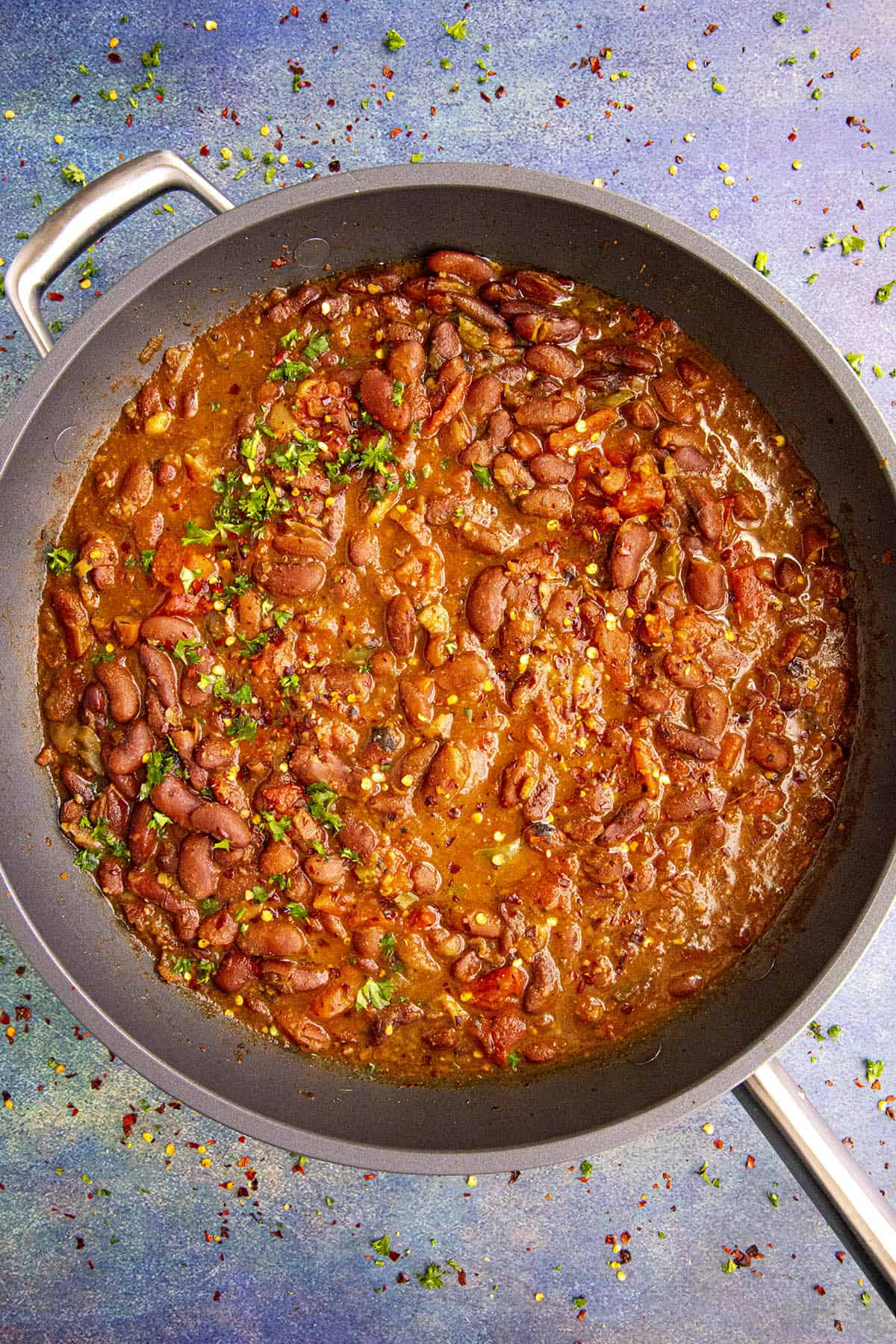 Hot Charro Beans in a pan