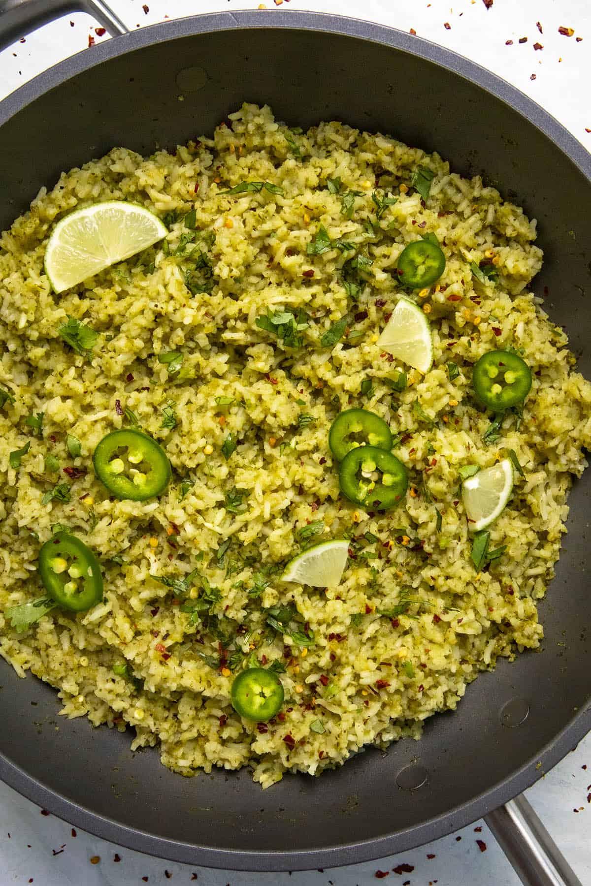 Arroz Verde in a hot pan