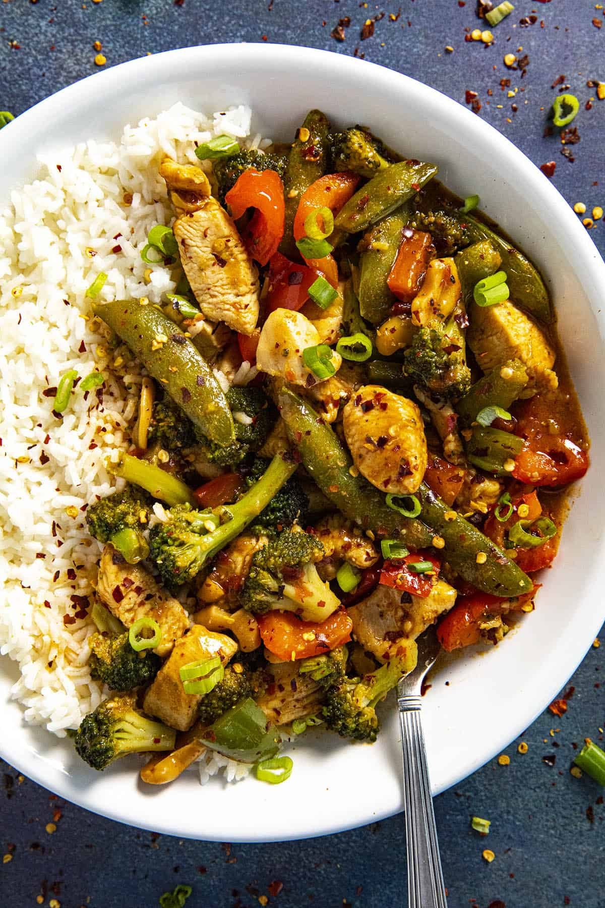 Chicken Stir Fry in a bowl with white rice