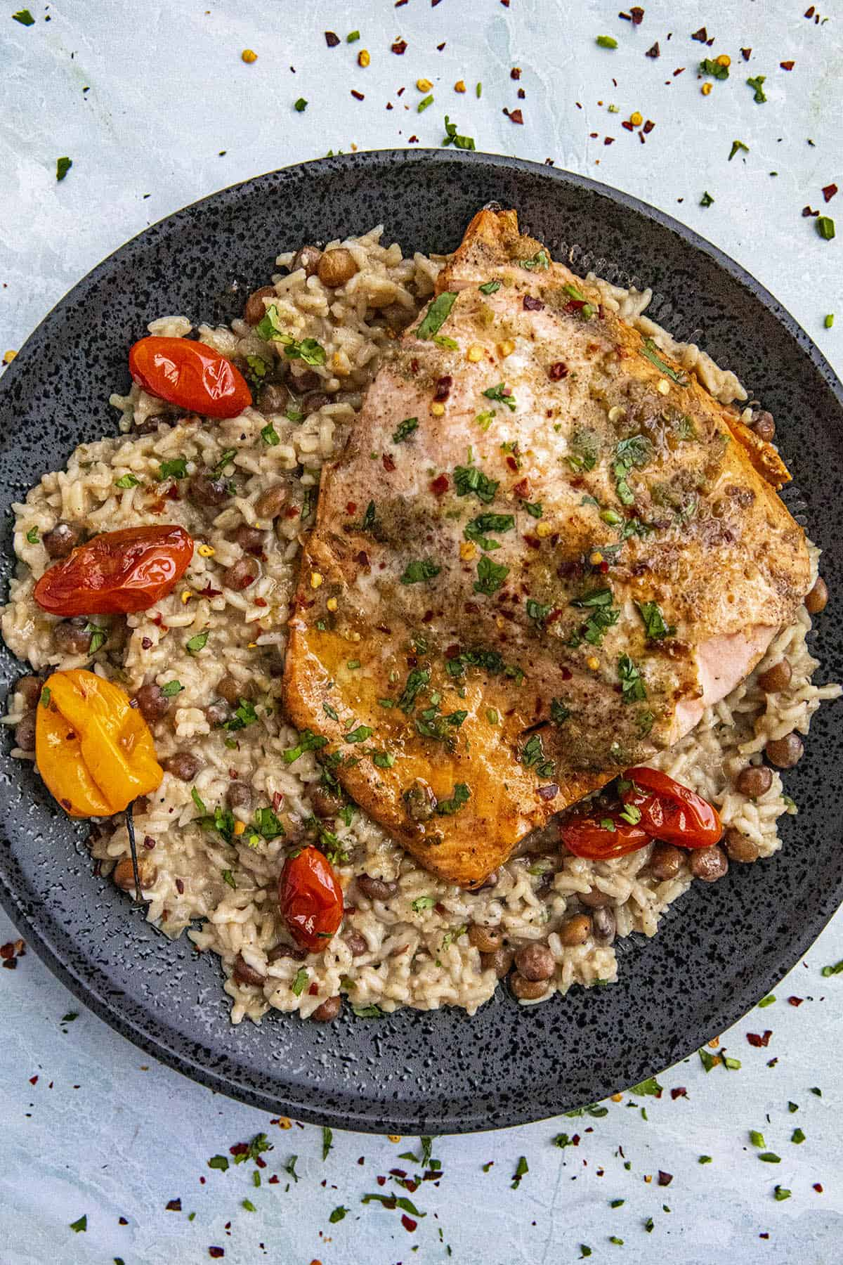 Jerk Salmon Served over a bed of Jamaican Rice and Peas