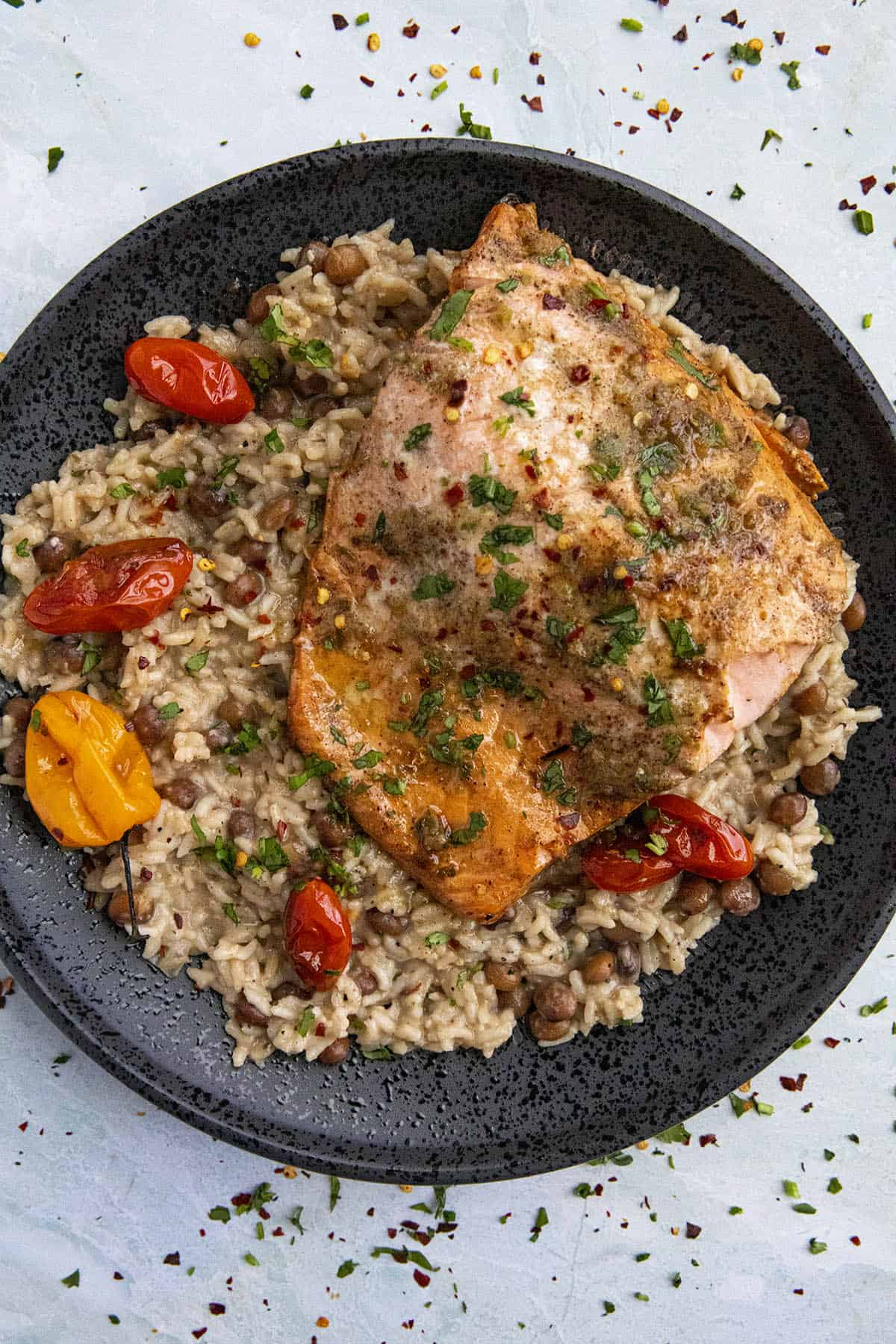 Spicy Jerk Salmon served over Jamaican rice and peas