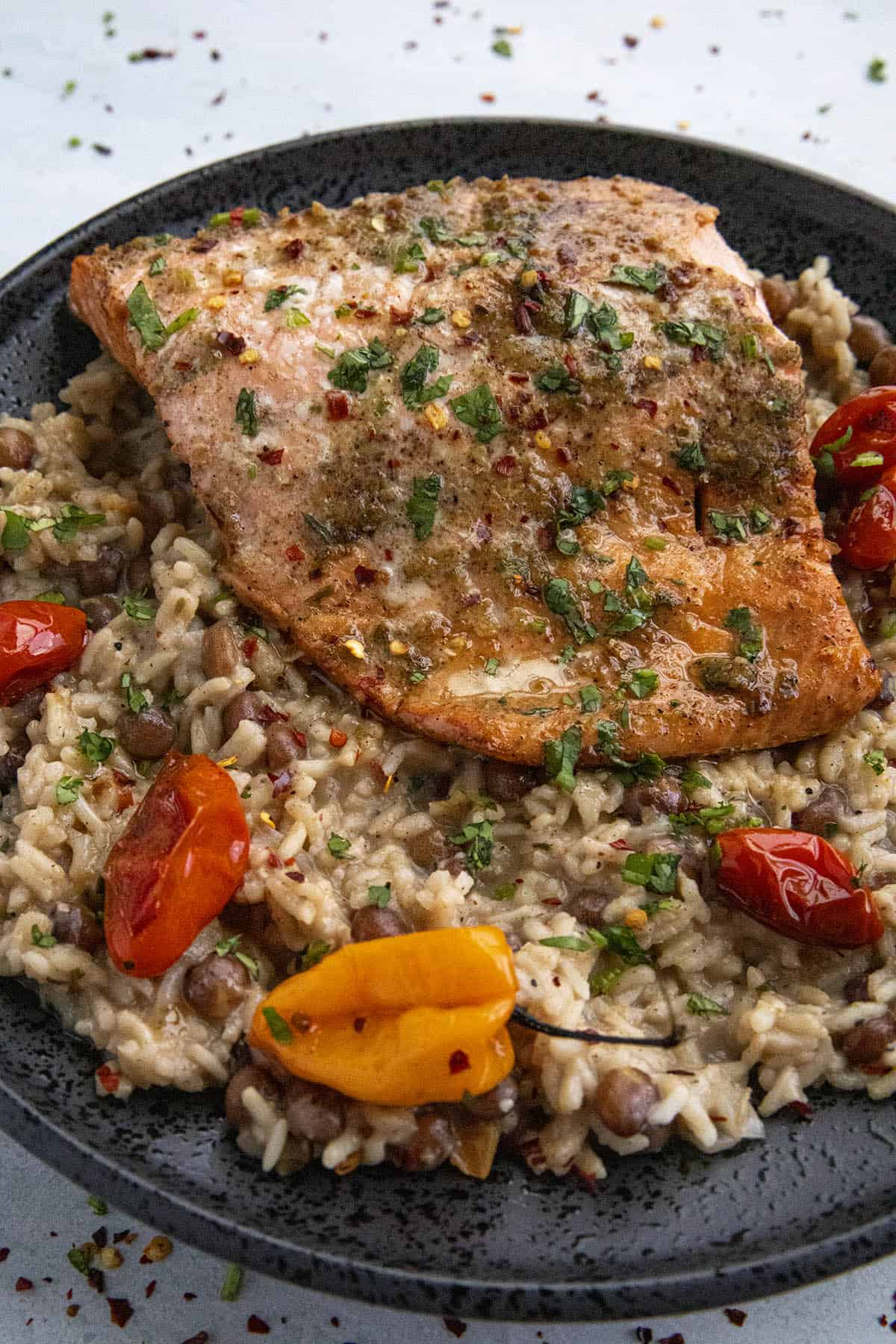 Jerk Salmon served over Jamaican rice and peas