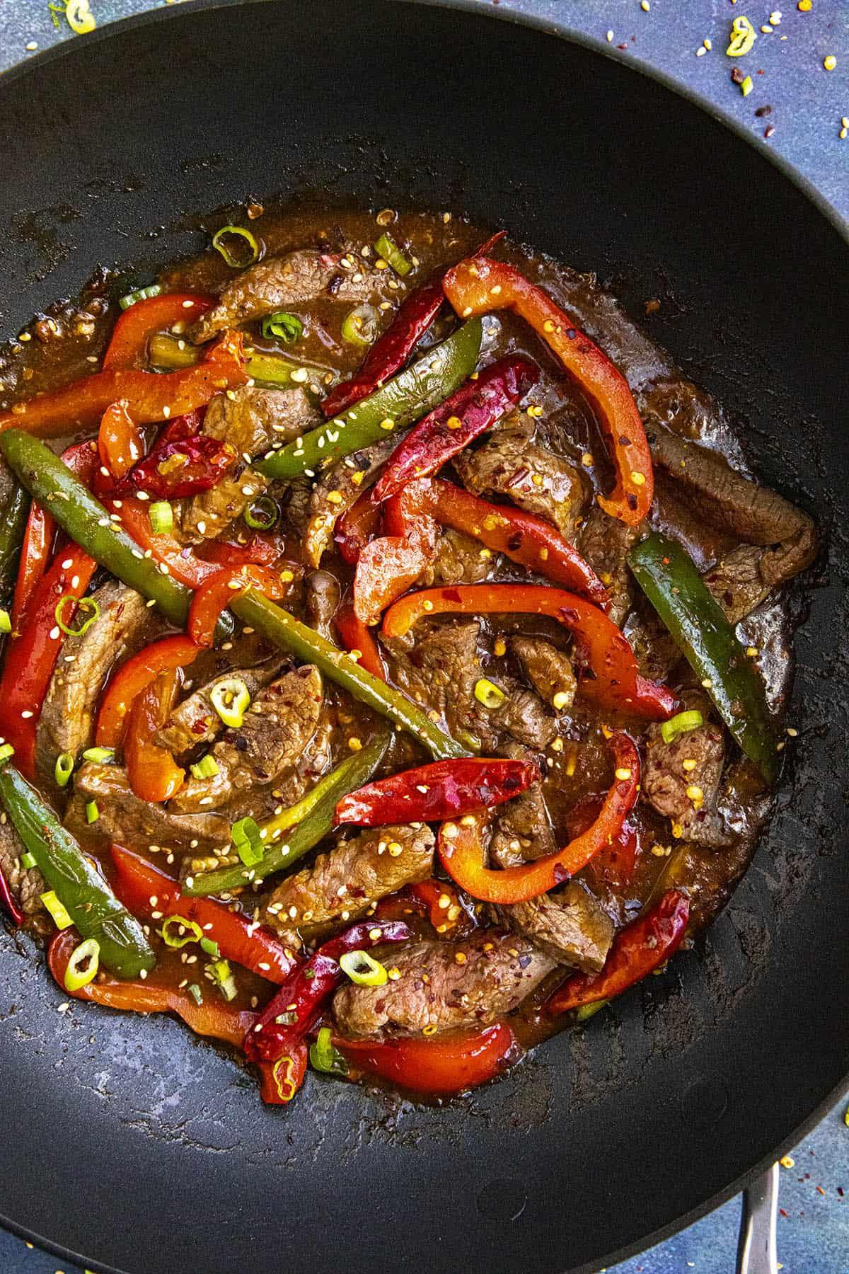 Szechuan Beef in a pan