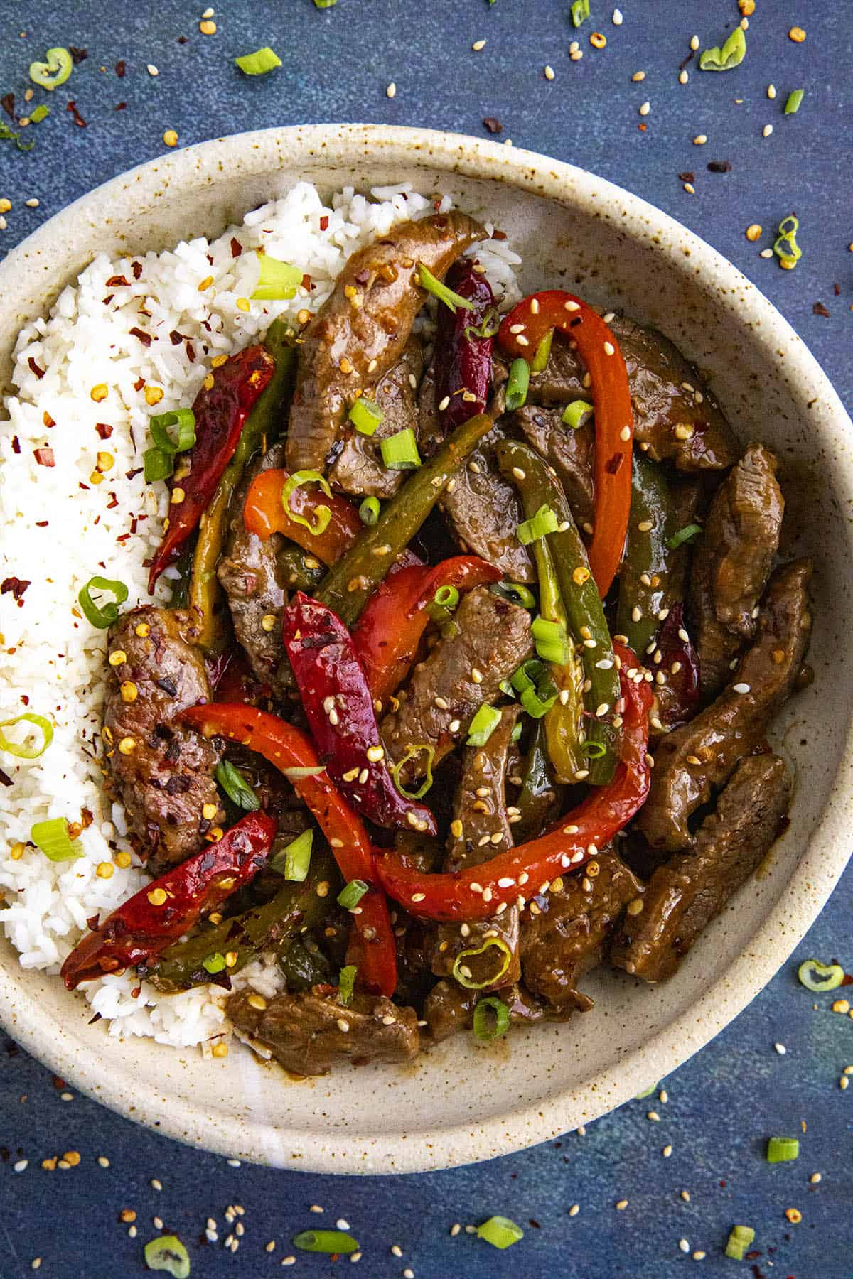 Szechuan Beef in a bowl over rice