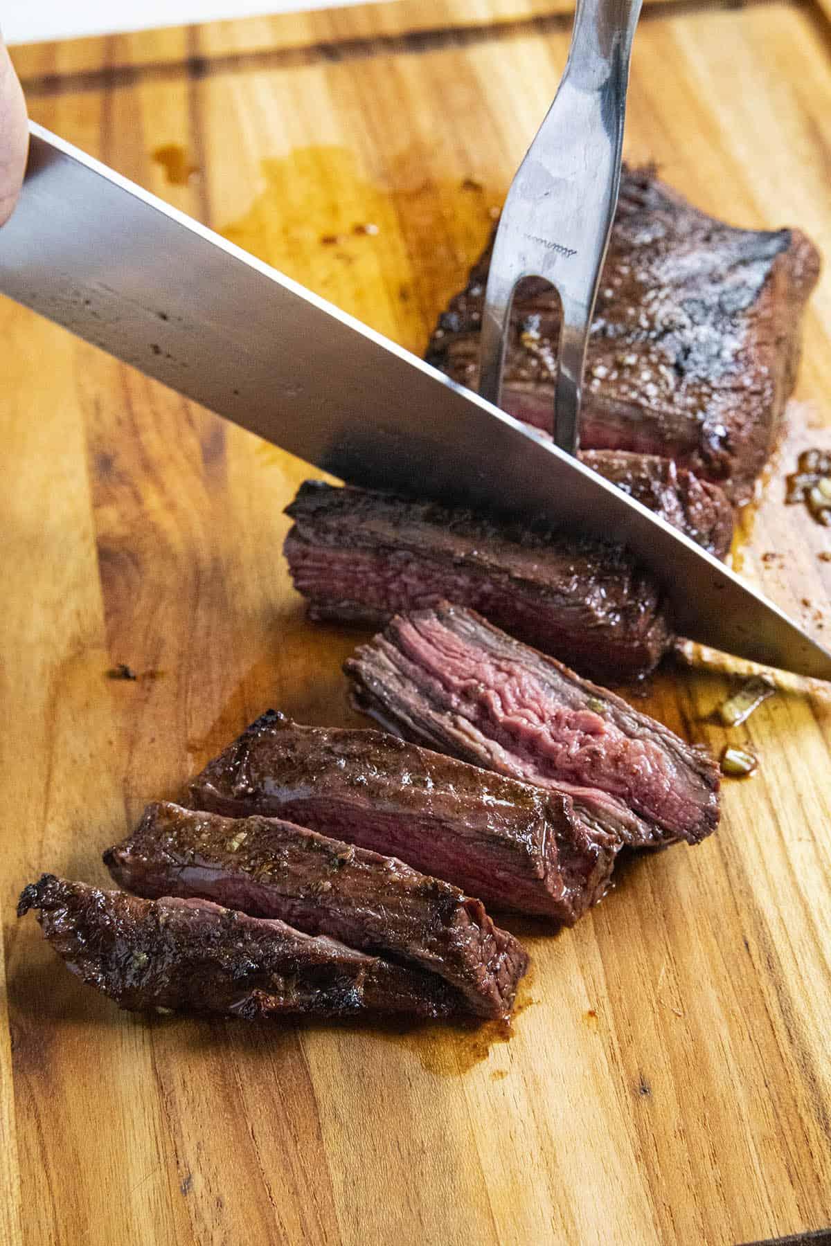 Slicing flank steak for grilled steak tacos