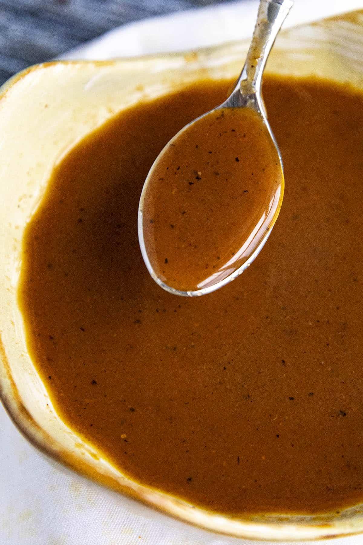 Tonkatsu Sauce on a spoon