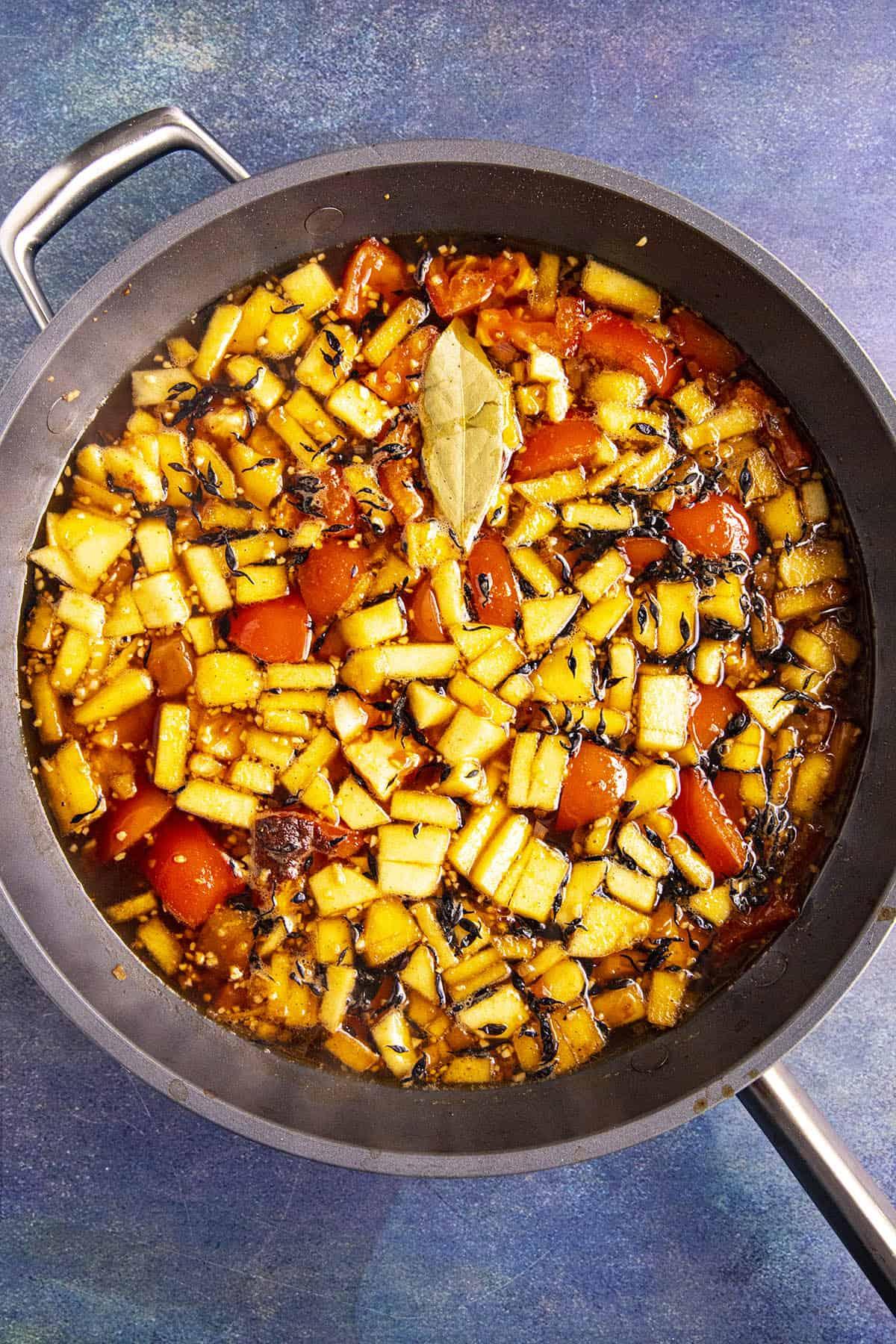 Cooking the ingredients to make Tonkatsu Sauce