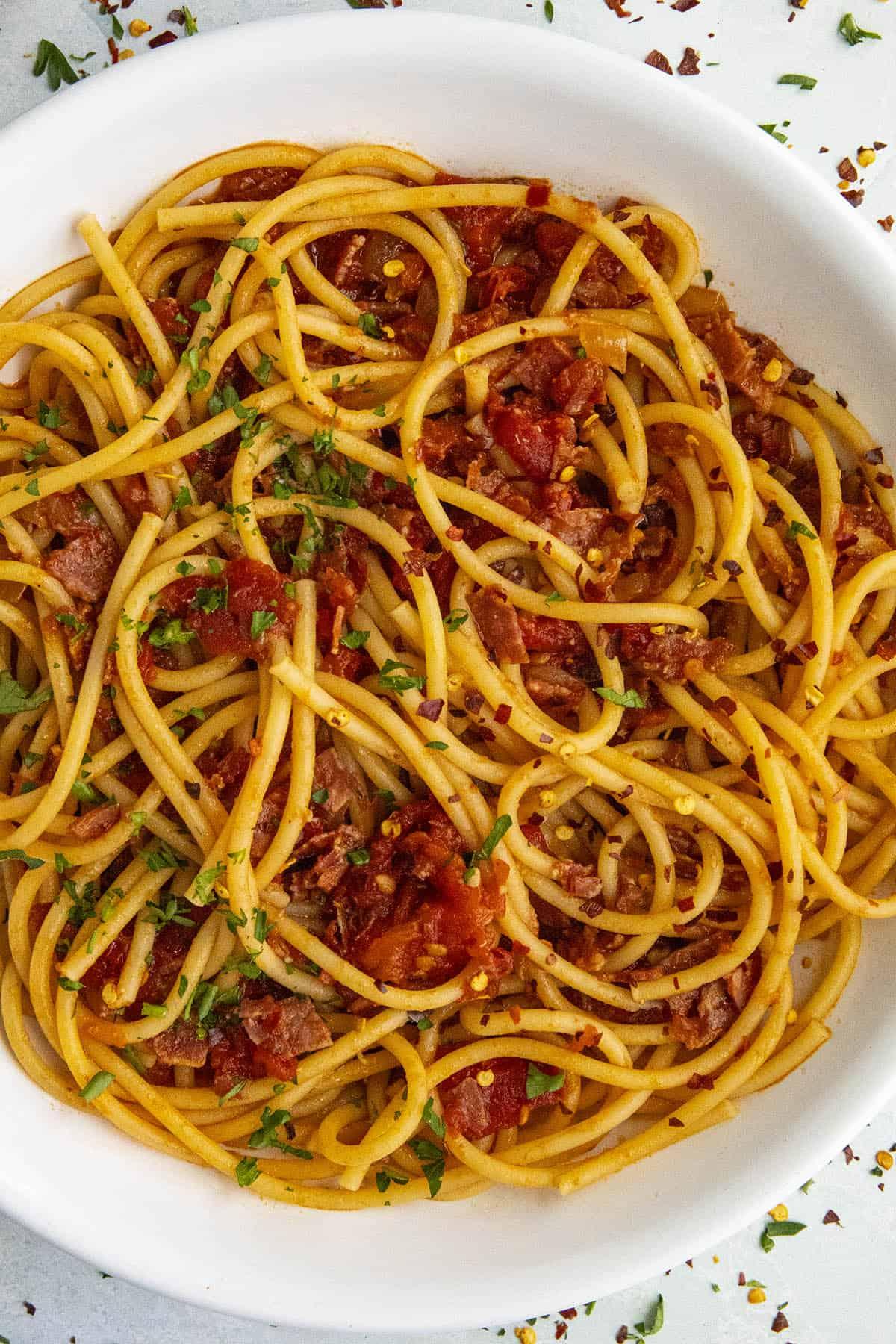 Bucatini all' Amatriciana (Spicy Italian Pasta)