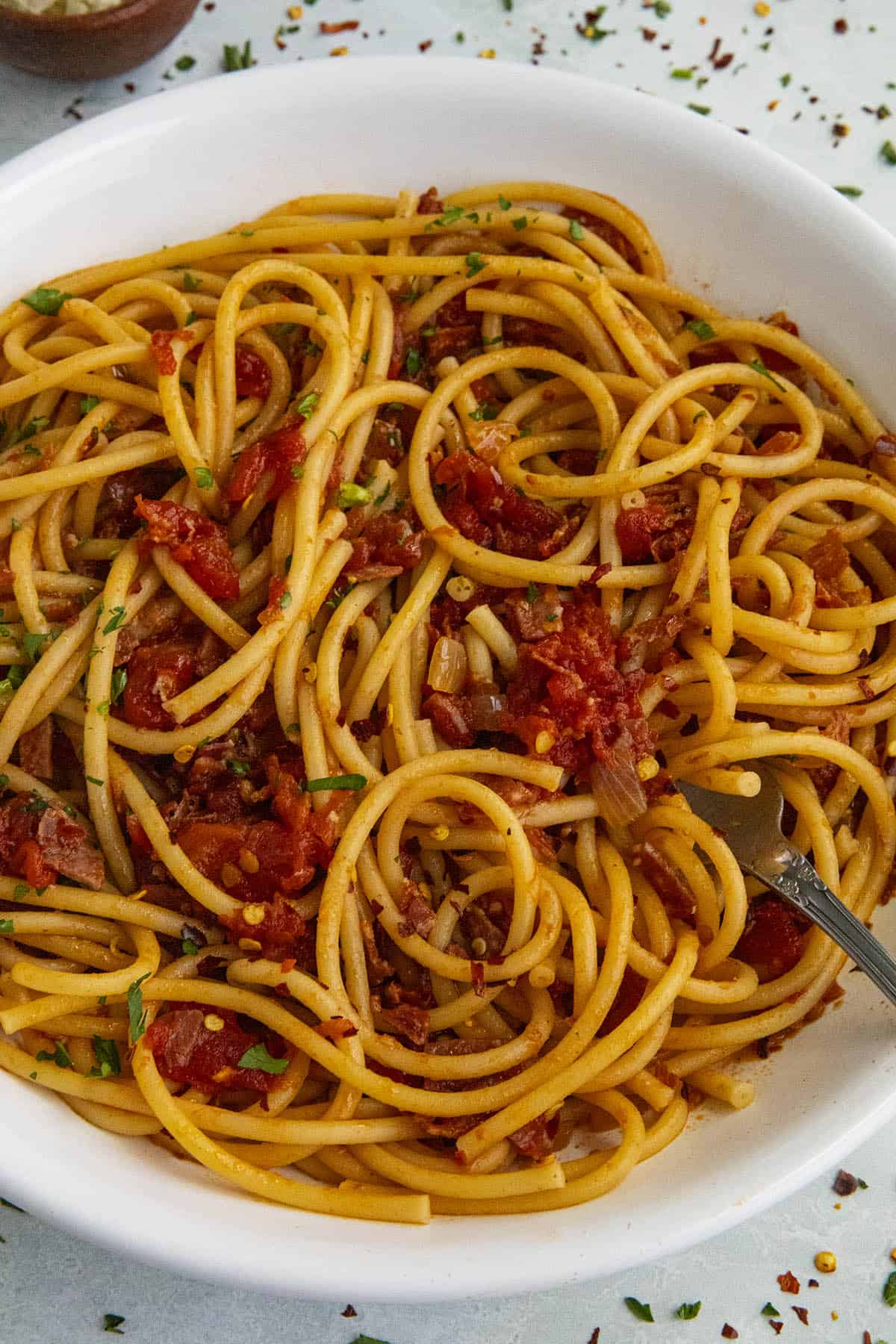 Bucatini all Amatriciana in a bowl