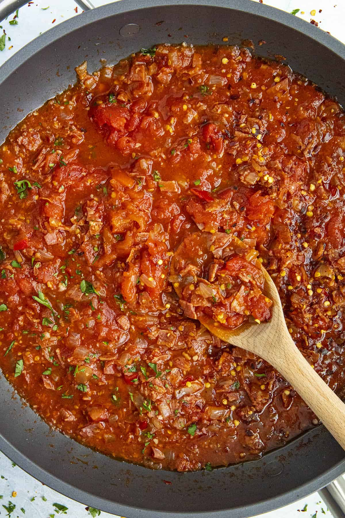 Amatriciana sauce in a pan