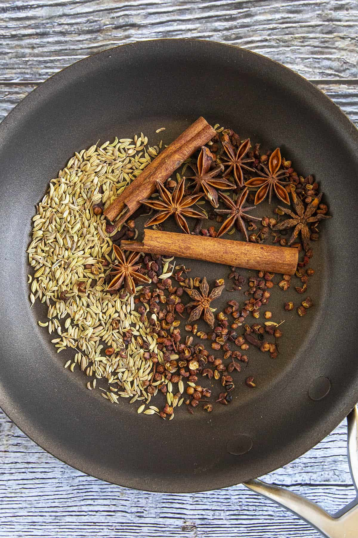 Toasting Chinese 5 Spice ingredients