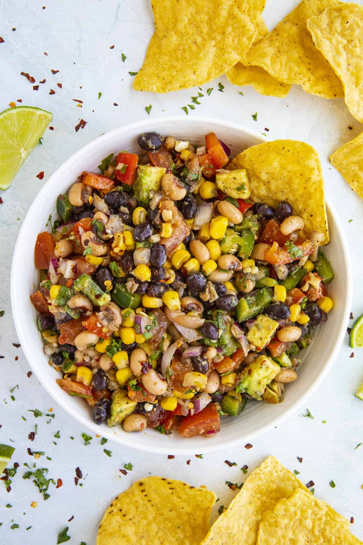 Cowboy Caviar ready to serve with crispy tortilla chips
