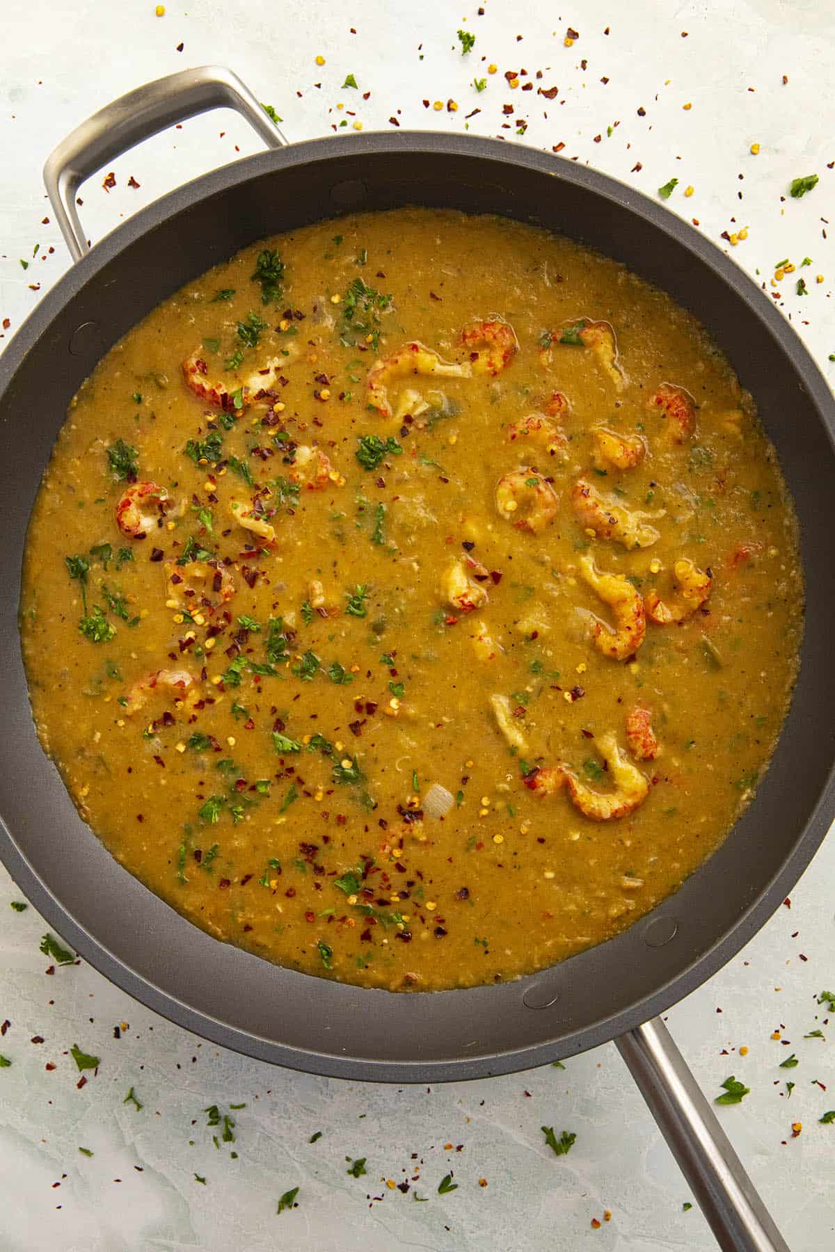 Crawfish Etouffee in a pan