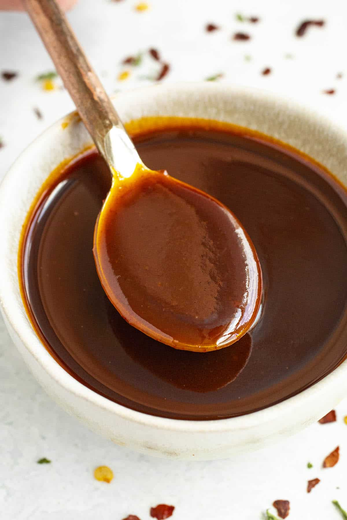 Gochujang Sauce on a spoon, ready to taste