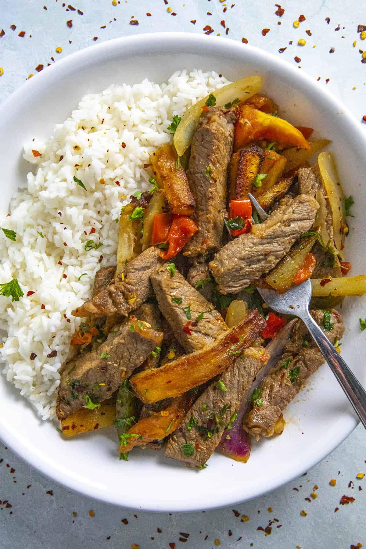 Lomo Saltado (Peruvian Beef Stir Fry with French Fries)