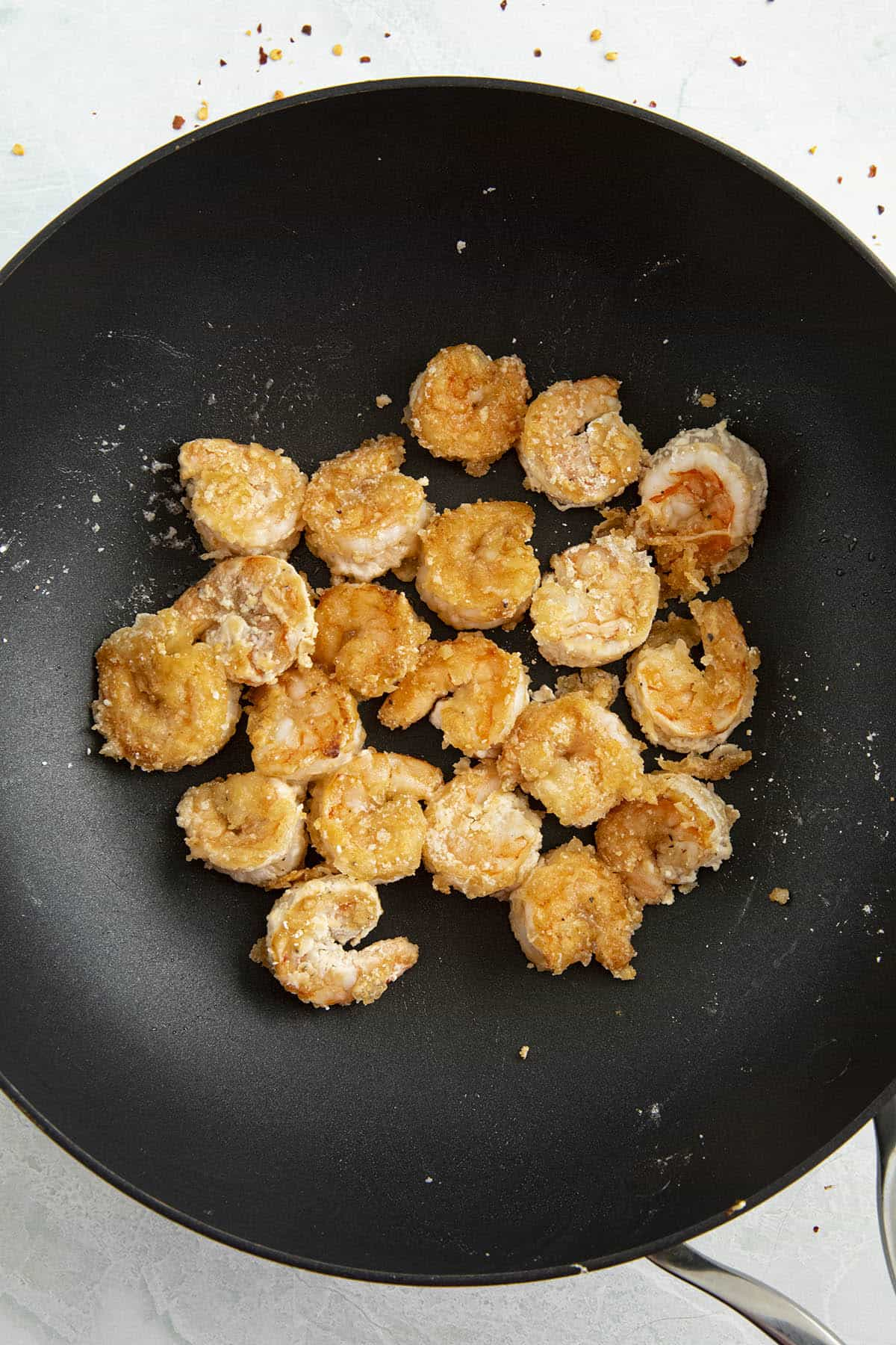 Cooking the shrimp in a hot pan