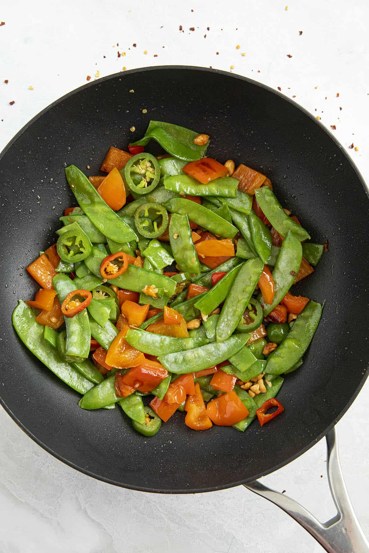 Cooking the vegetables in a hot pan