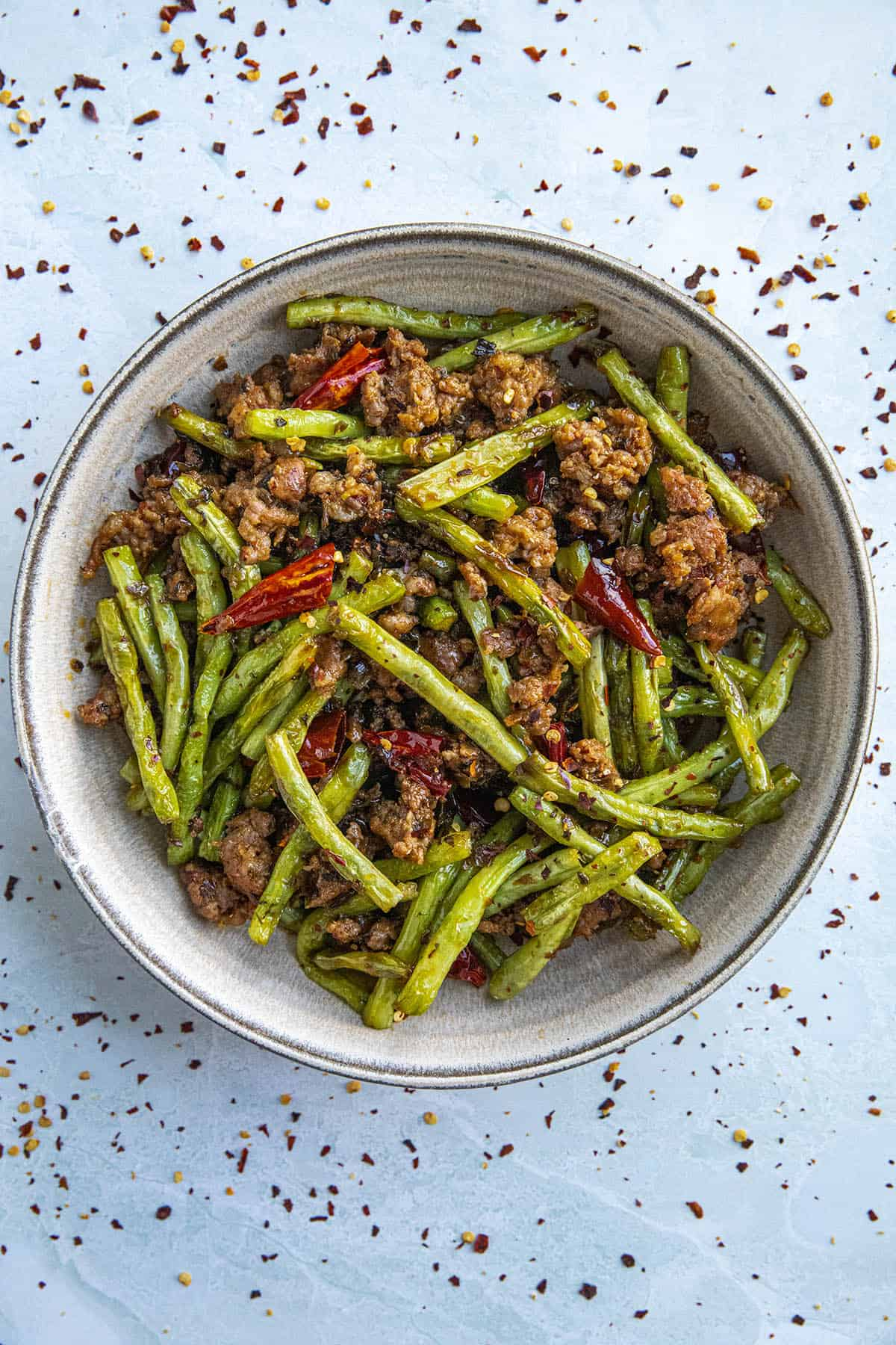 Sichuan Dry Fried Green Beans Recipe in a bowl, ready to serve