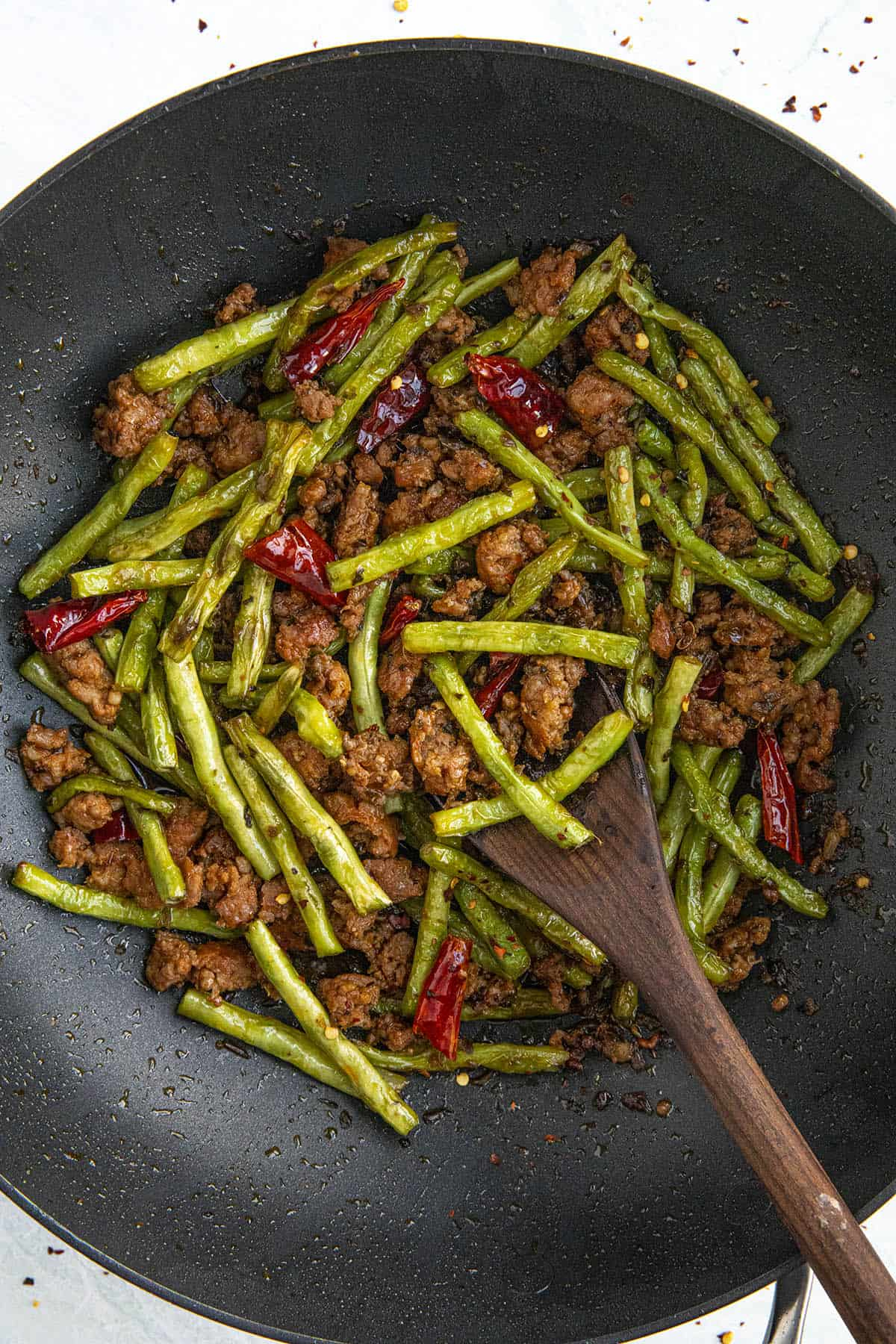 Sichuan Dry Fried Green Beans Recipe in a pan