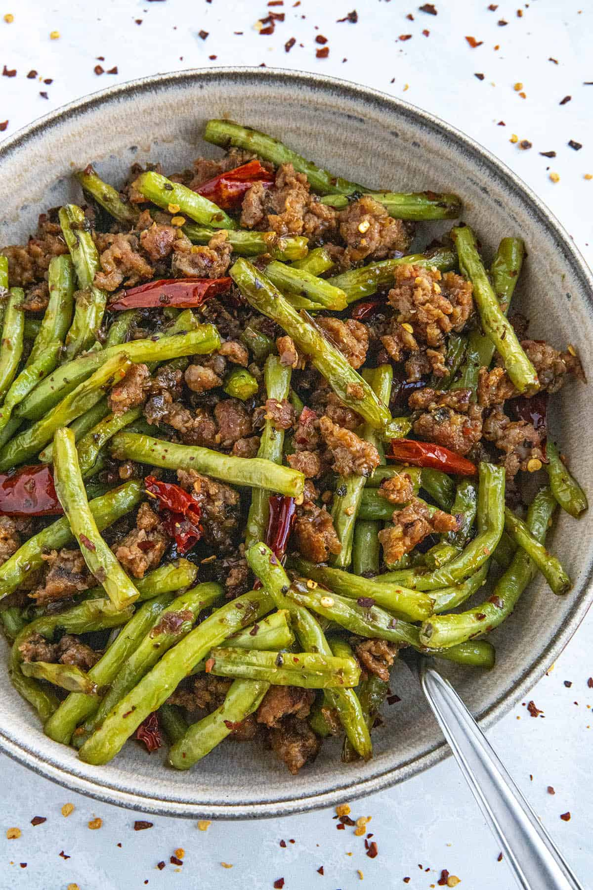 Sichuan Dry Fried Green Beans Recipe in a bowl