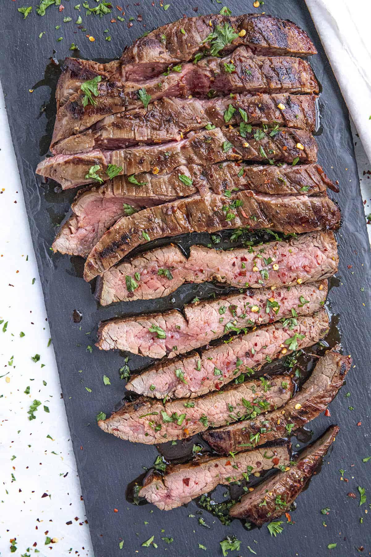 Sliced marinated flank steak ready to eat