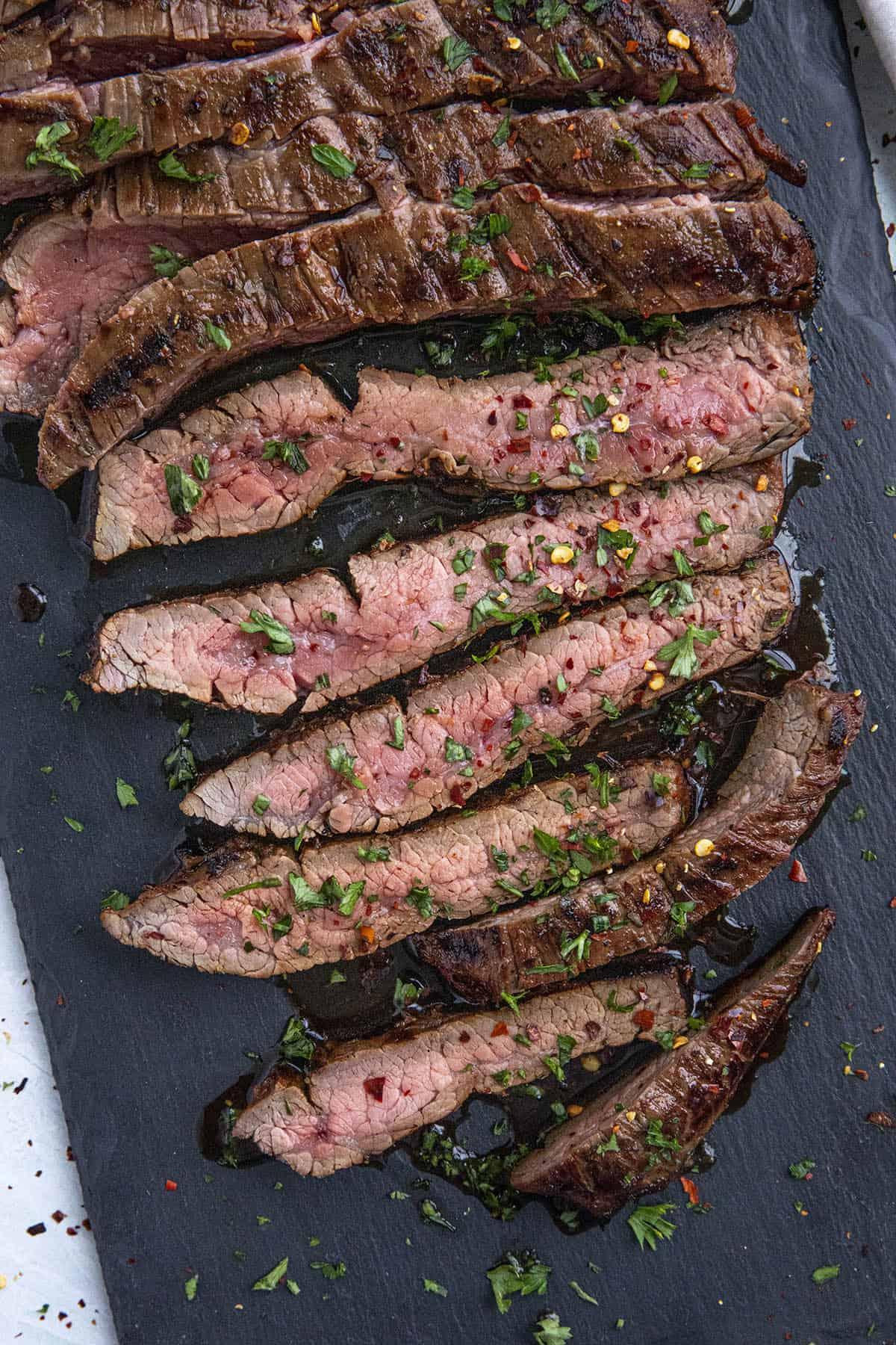 Sliced marinated flank steak ready to serve
