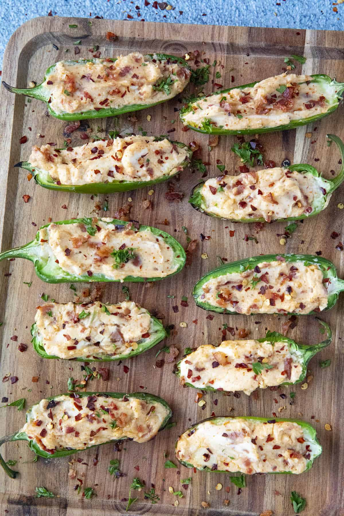 Grilled Jalapeno Poppers on a platter, ready to serve