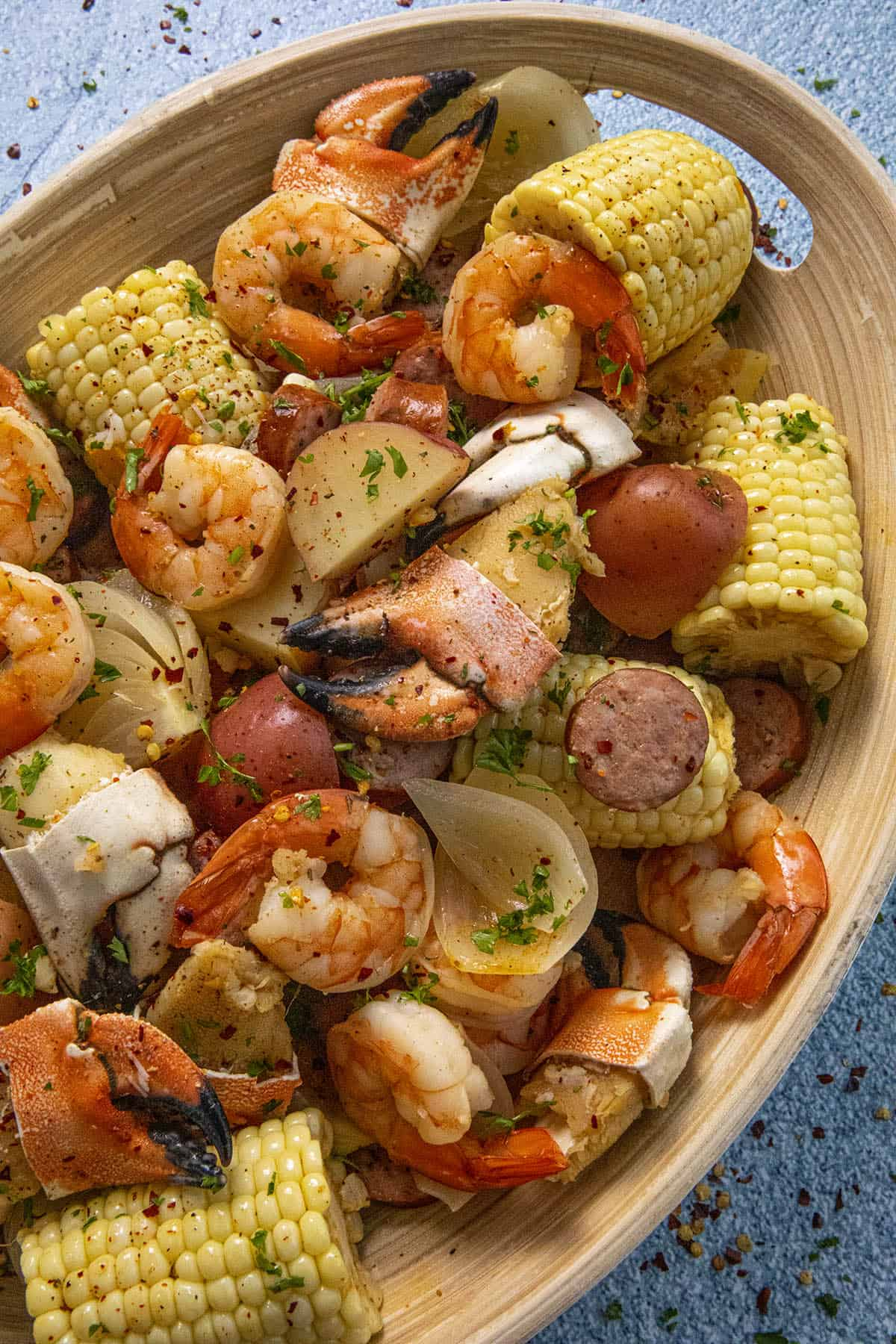 Low Country Boil seafood ready to serve