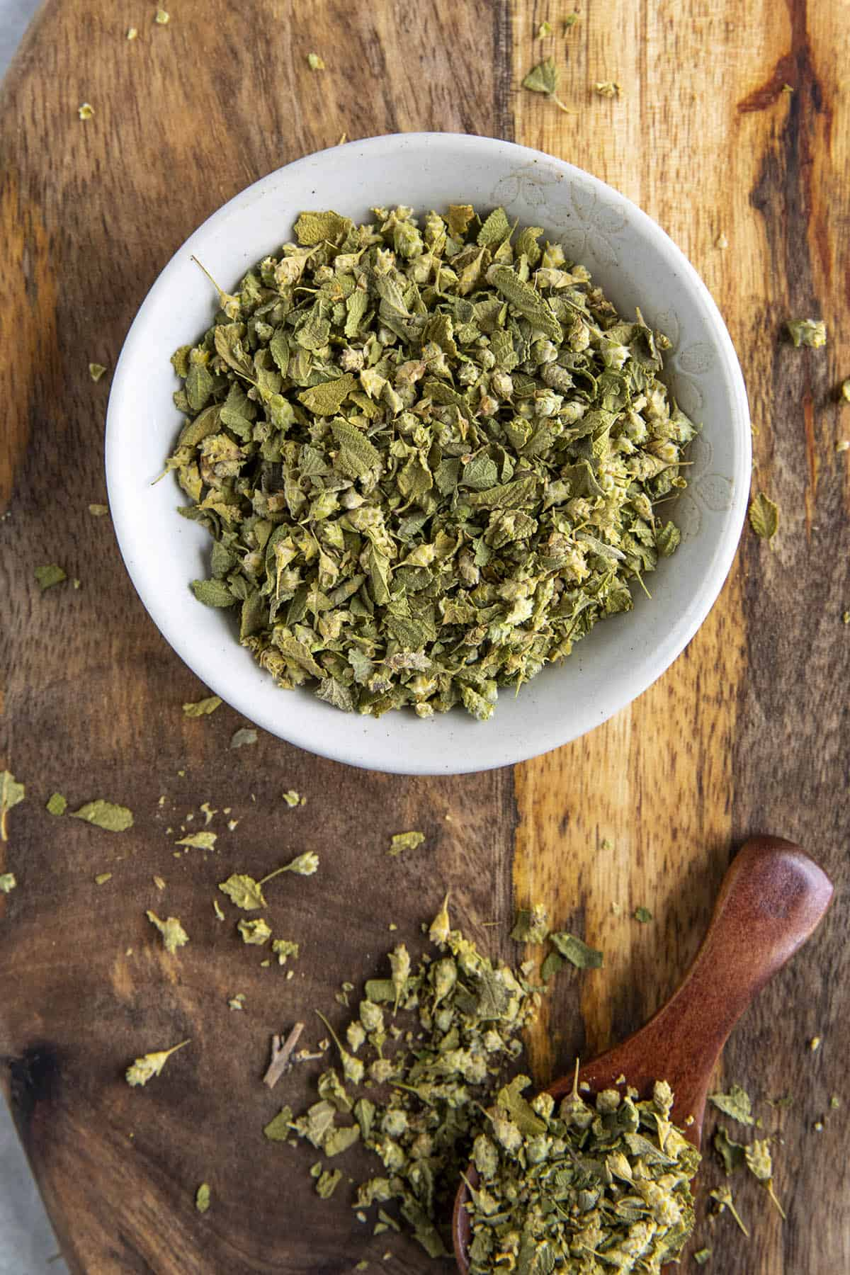 Mexican Oregano in a bowl, ready to use