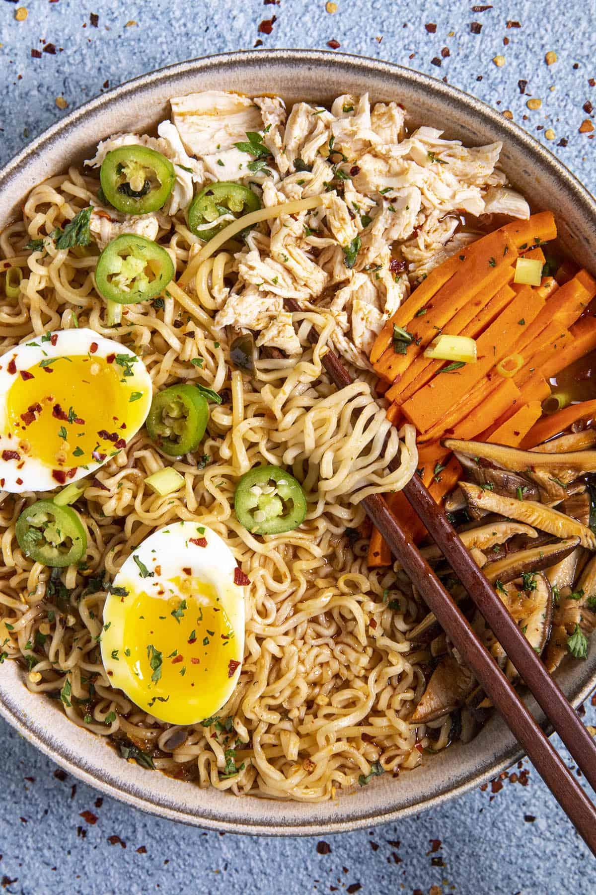 Chicken Ramen in a bowl with chopsticks