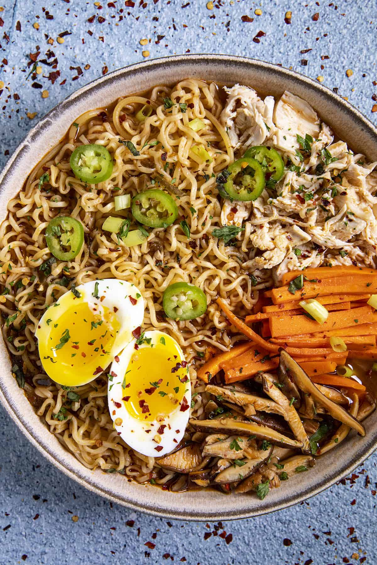 Chicken Ramen in a bowl with soft boiled eggs