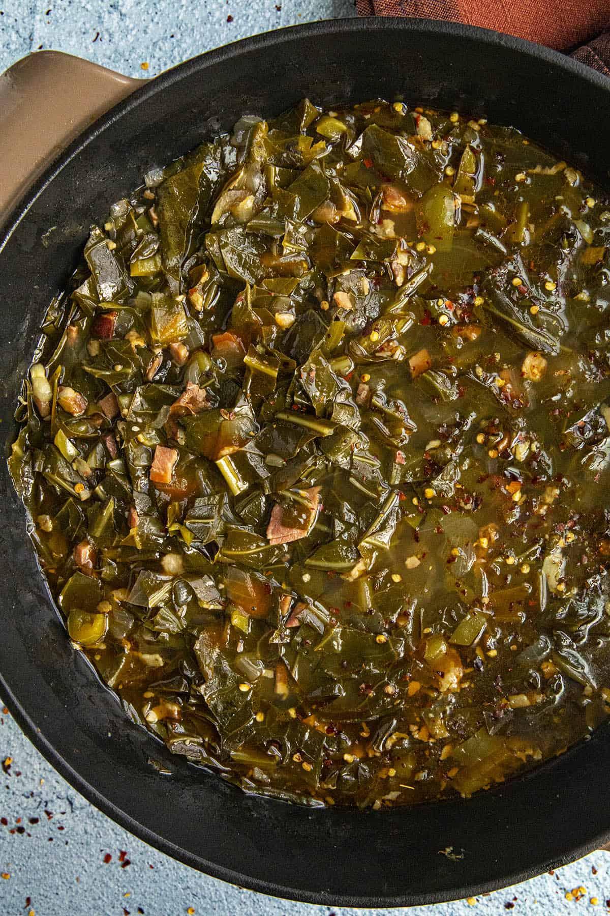Collard Greens simmering in a pot