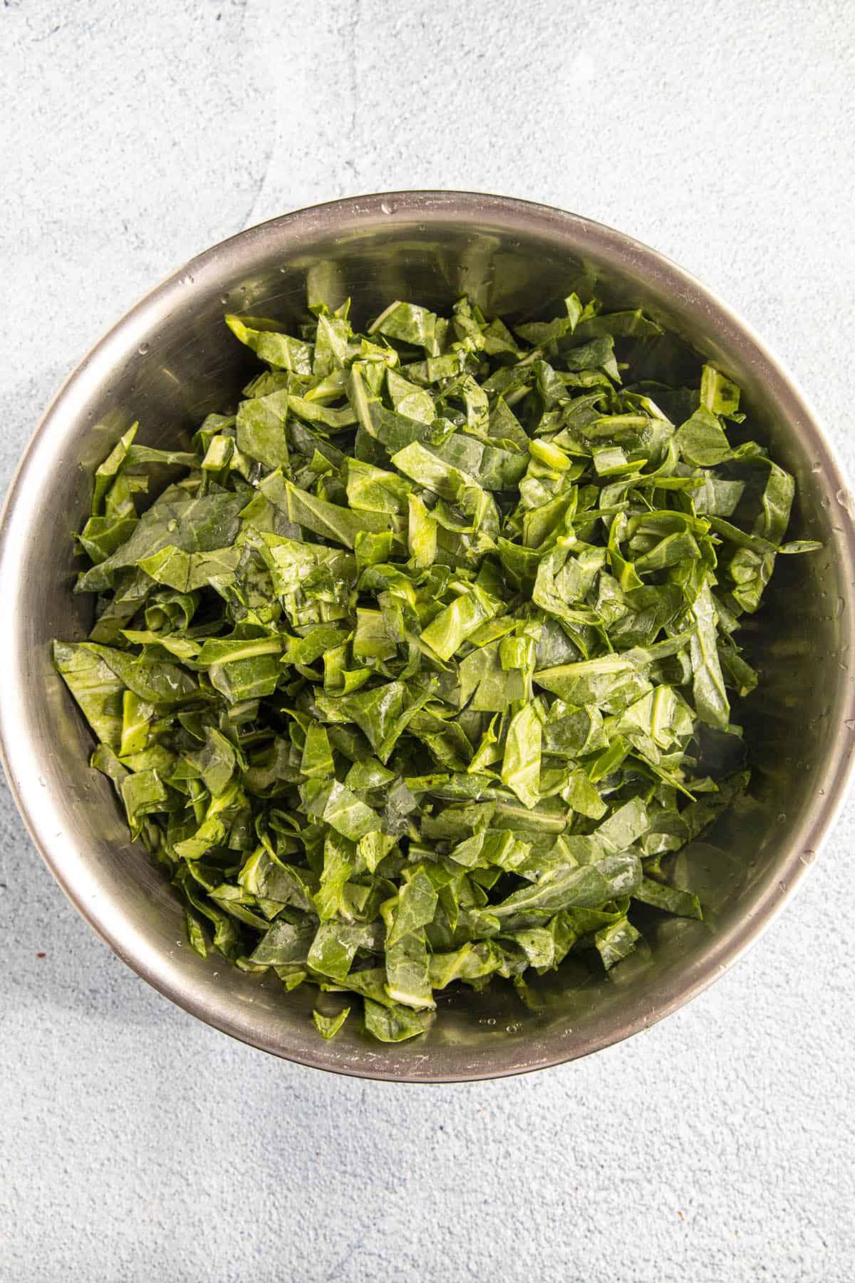 Rinsed Collard Greens in a bowl