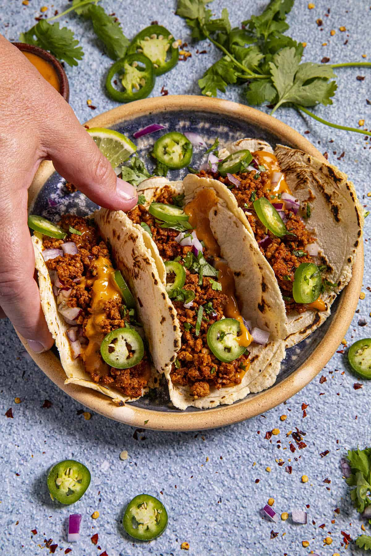 Mike serving up Mexican chorizo tacos