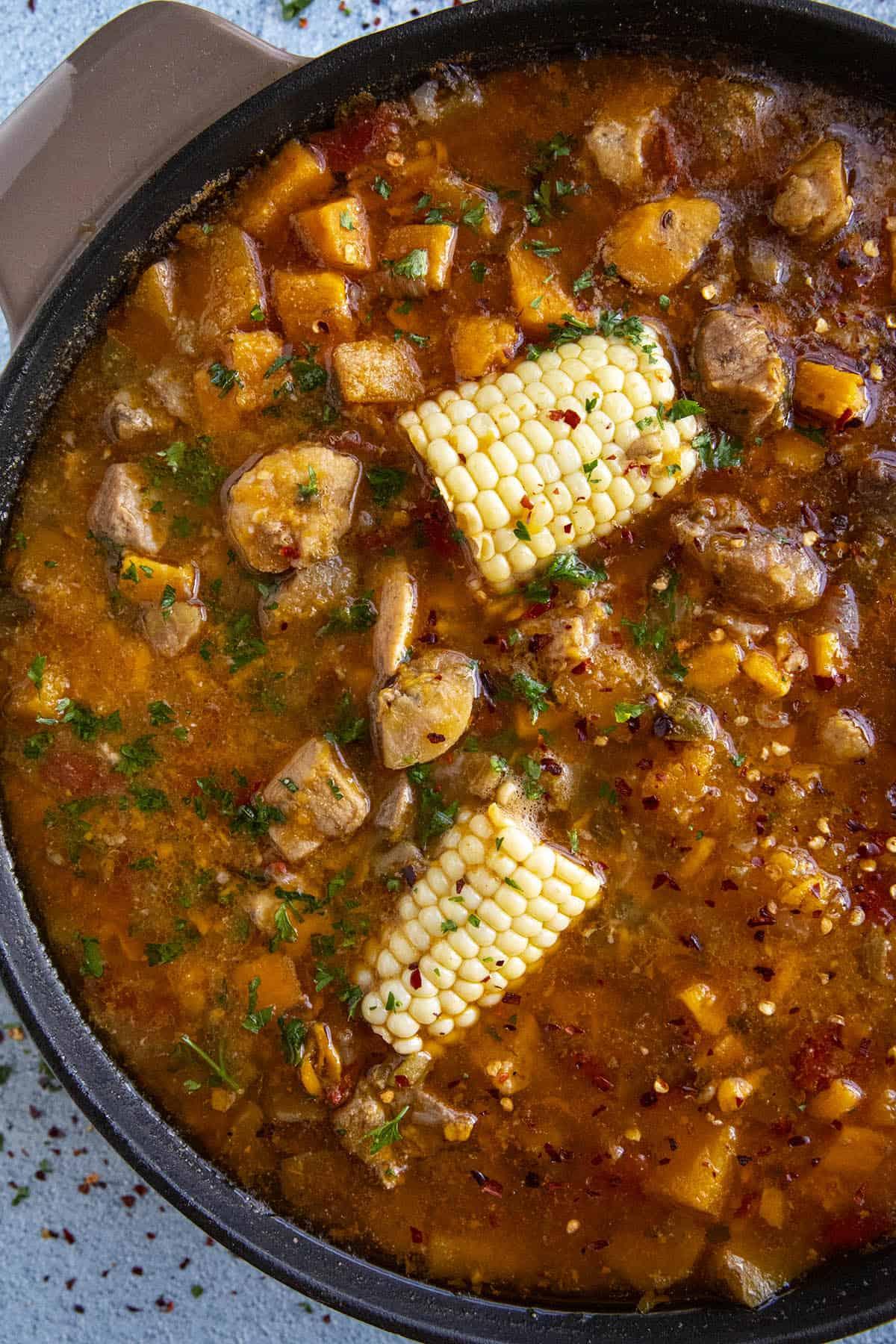 Sancocho simmering in a pot
