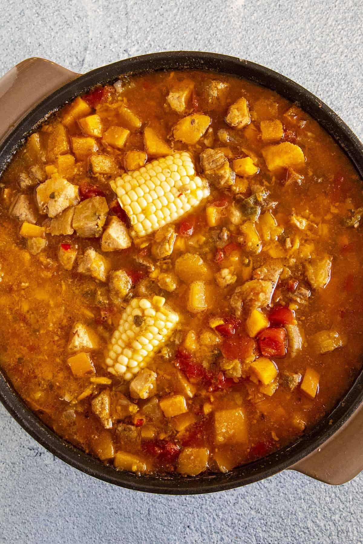 Simmering the Sancocho in a pot