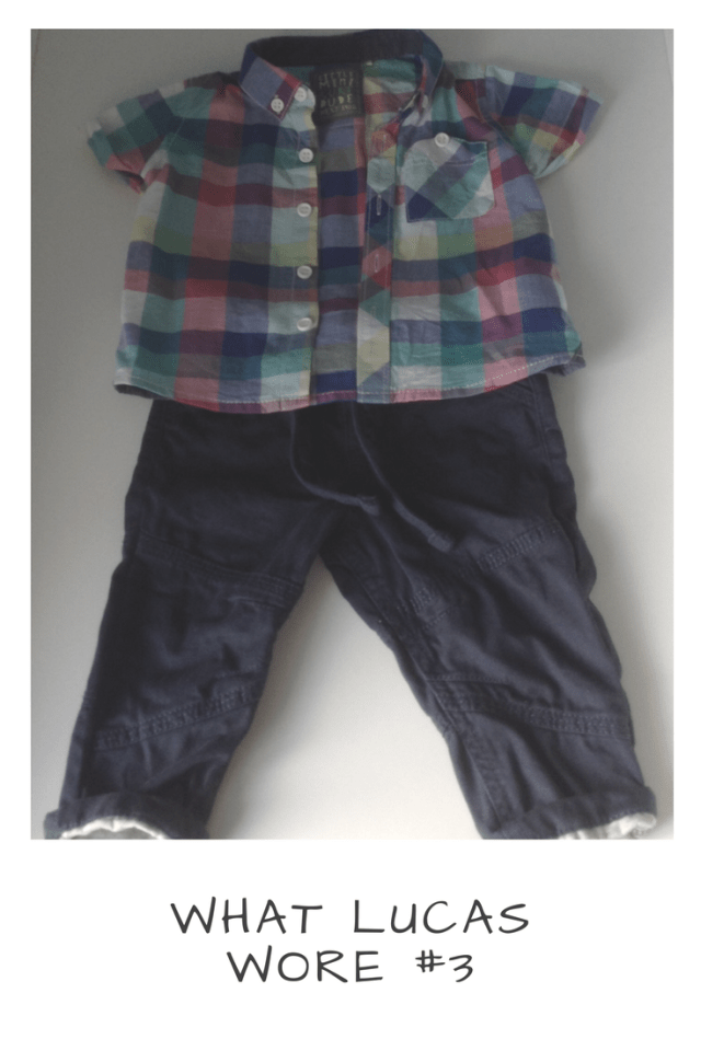 Baby boys pink, green, blue and white checked short sleeve shirt and navy blue chino's