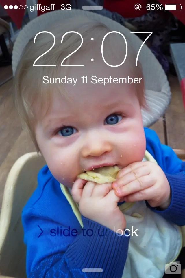 Blog on msi photo of phone screen lock, Lucas eating toast