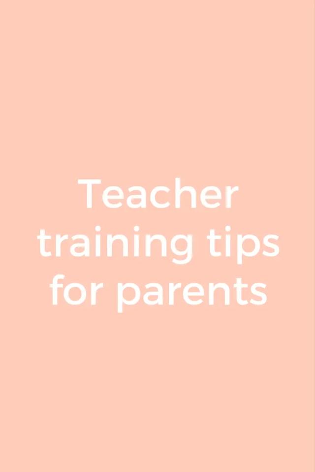 Teacher training tips for busy parents