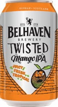 Valentines gift ideas. A silver can of mango ipa with a small mango drawing and orange pattern