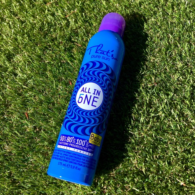 Father's Day gift ideas a photo of a blue and purple can of sun cream against grass