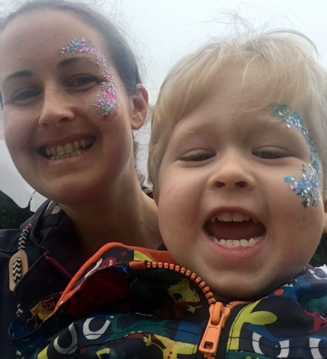 Down by the Riverside Festival review. Lucas and me with glitter on our face