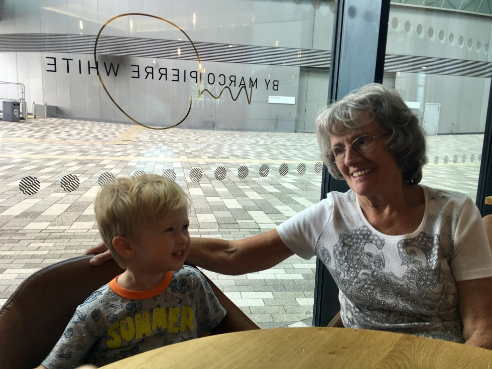 Wheelers restaurant liverpool my Grabdma and Lucas day at the table looking at each other smiling
