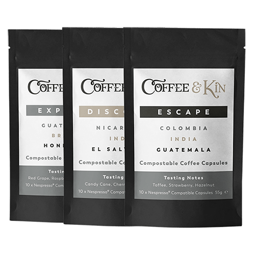 Easy ways to go plastic free. 3 packets of coffee