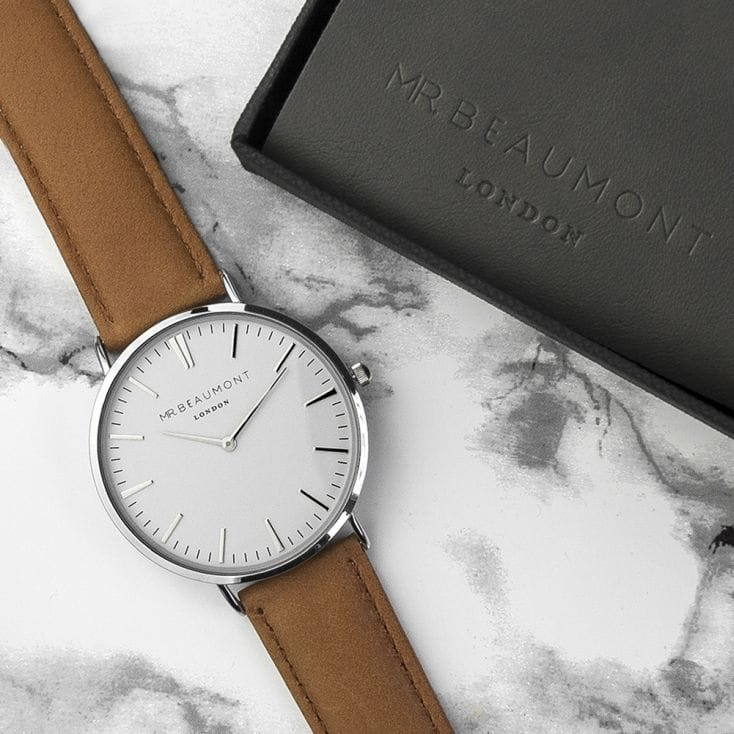 Men's gift ideas watch with a tan strap and white face