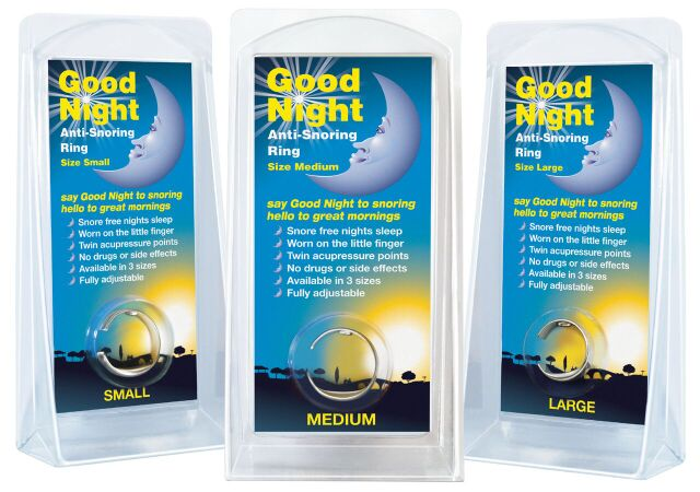 Men's gift ideas snoring ring in blue and yellow packaging